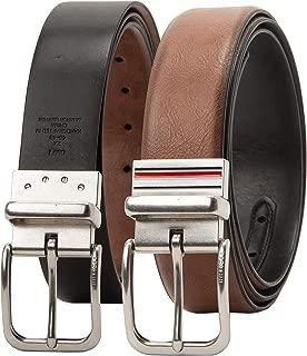 Tommy Hilfiger Men's Big and Tall Casual Belt, tan/black stripe, 3X (52-54)