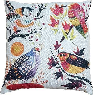 Saanvishubh™ Jute Digital 3D Print Cushion Cover Set of 5 16x16inch 4 Birdsowl Printed
