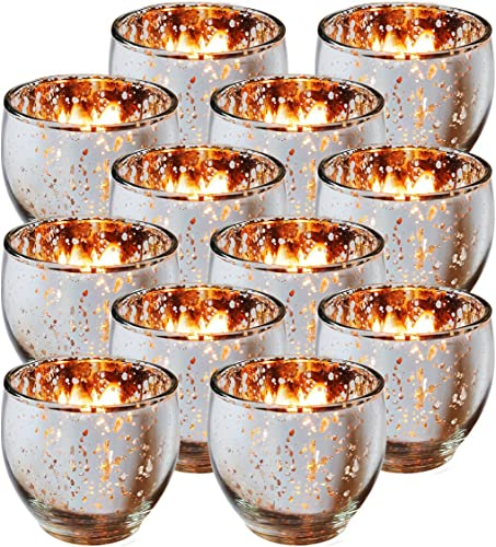 lowest Royal Imports Mercury Glass Votive Tealight Candle Holder, online Round Bubble Elegant Decor, Unfilled outlet sale Round Speckled Glow for Wedding Party Home, Silver, Set of 12 sale