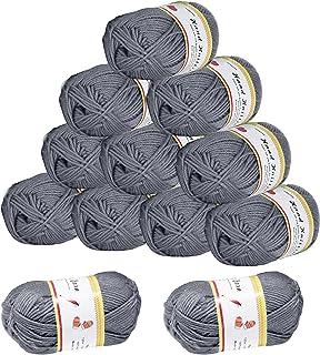 KOHMUI Lot de 12 pelotes de fil à crochet, 600 g (12 x 50 g) de fil à tricoter à la main, fil en coton acrylique pour croc...