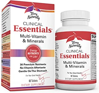 Terry Naturally Clinical Essentials - 60 Tablets - Multivitamin & Mineral Supplement with 30 Premium Nutrients, Gentle On ...