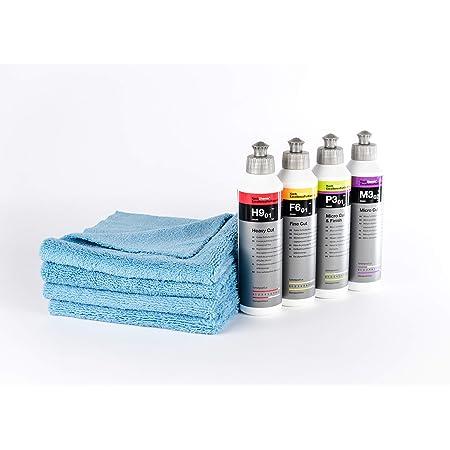 Clean 2 Koch Chemie Politur Set 4x250 Ml Heavy Cut H9 01 Fine Cut F6 1 Micro Cut M3 02 Micro Cut Finish P3 01 4 Microfaser Tücher Auto