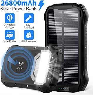 Solar Power Bank 26800mAh Cargador Solar Batería Externa Móvil+4 Puertos:Carga Rapida Tipo C-QI Carga Inalámbrico-Dos 3.1A+4 Modo Iluminación:SOS Linterna+18 LED+Impermeable para iPad Teléfono Viajes