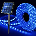 Outdoor Solar LED Strip Lights Blue, Solar Powered Flexible Waterproof Rope Lights, 8 Modes 180 LED Lights Strip for Garden Porch Gazebo Pathway Home Patio Umbrella Courtyard