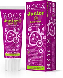 R.O.C.S. Junior Berry Mix Toothpaste - Enamel Instant Whitening Teeth Gum Protection   Best for Children 6-12 Years Old - ...