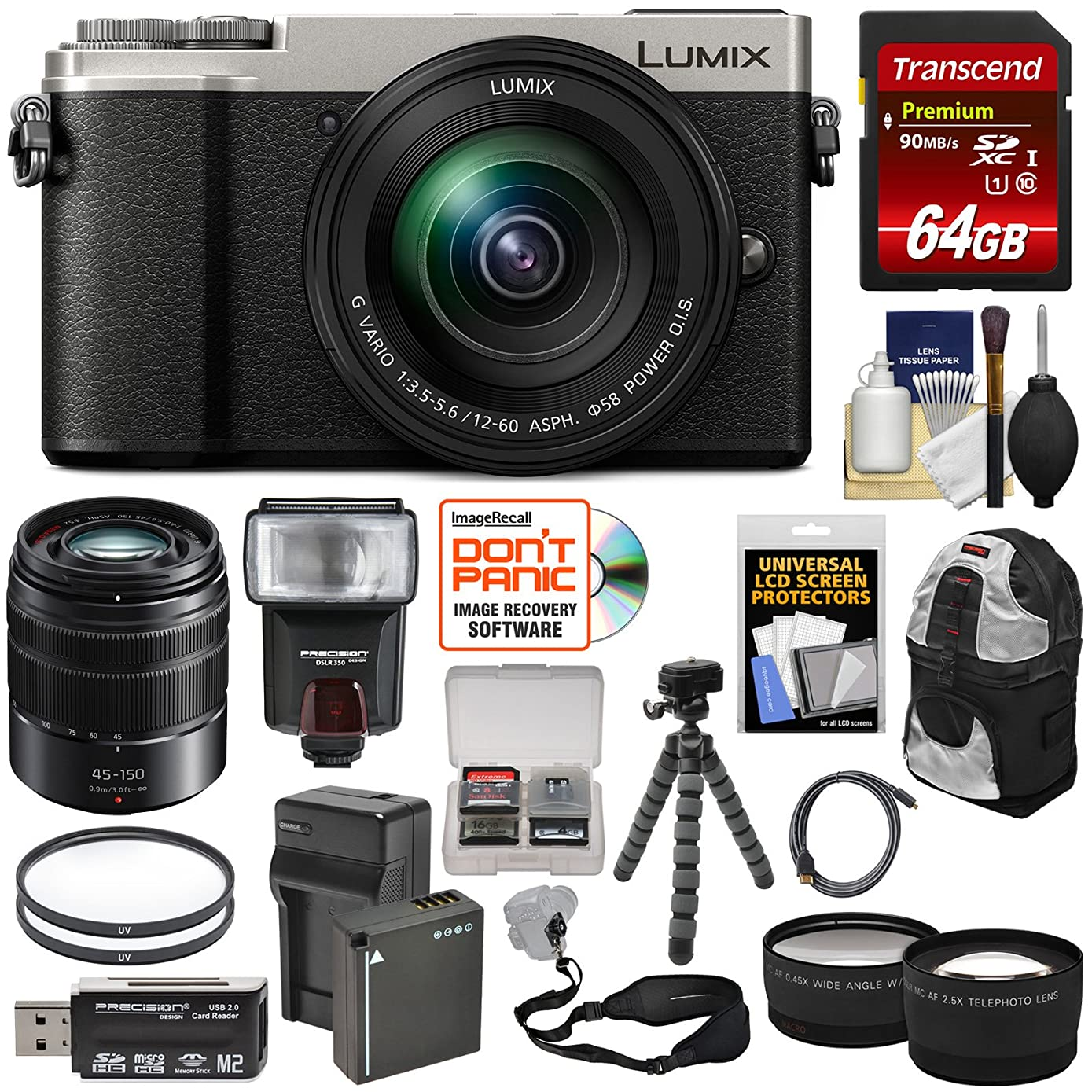 Panasonic Lumix DC-GX9 4K Wi-Fi Digital Camera & 12-60mm Lens (Silver) + 45-150mm Lens + 64GB Card + Battery + Backpack + Tripod + Flash + Tele & Wide Lens Kit