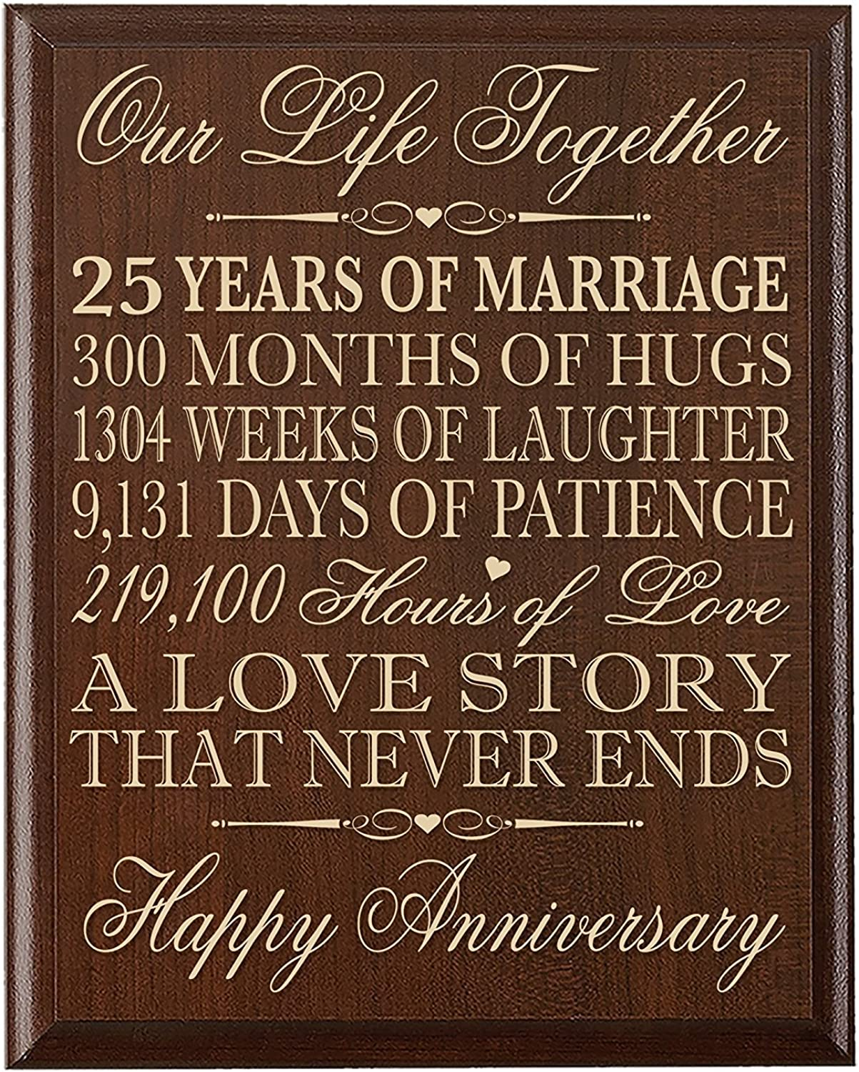 LifeSong Milestones 25th Wedding Anniversary Wall Plaque Gifts for Couple, 25th Anniversary Gifts for Her,25th Wedding Anniversary Gifts for Him 12  W X 15  H Wall Plaque By
