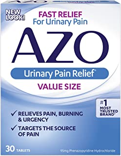 AZO Urinary Pain Relief Value Size |with Phenazopyridine Hydrochloride |Fast Relief | Relieves UTI Pain,Burning & Urgency | Targets The Source of Pain | #1 Most Trusted Brand | 30 Tablets | Pack of 3