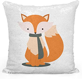 Looms & Linens Sequin Mermaid Throw Pillow Cozy Winter Fox Caartoon 16X16 inch Magic Flip Throw Pillow with Stuffing 1 Piece