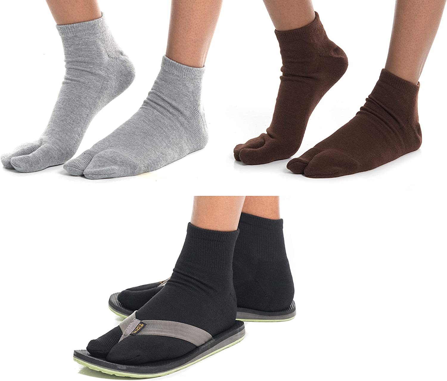 3 Pairs Flip-Flop Thicker Tabi V-Toe Big Toe Ankle Socks Warm Comfortable Cotton Polyester Spandex Blend