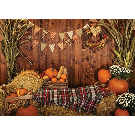 GoEoo 7x5ft Fall Harvest Grapes Apple Fruit Background Happy Thanksgiving Kitchen Photography Backdrop Autumn Farm Barn Orchard Garden Flower Photo Studio Props Holiday Party Decoration Vinyl Banner