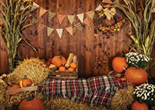 AIIKES 7x5FT Fall Thanksgiving Photo Backdrop Rustic Wood Board Barn Harvest Photography Background Autumn Pumpkin Leaves Flower Baby Birthday Portrait Party Decoration Photo Studio Booth Props 11-741