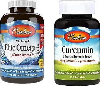 Carlson - Elite Omega-3 Gems and Curcumin Bundle, 1600 mg Lemon-Flavored Omega-3s and 500 mg Curcumin, 130 Soft Gels (Omega-3s) and 120 Soft Gels (Curcumin)