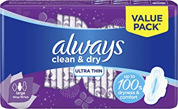Always Clean & Dry Ultra Thin, Large sanitary pads, 16 pads
