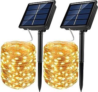 JosMega Upgraded Solar Powered String Fairy Lights 2 Pack 72 ft 200 LED 8 Modes Waterproof IP65 Twinkle Lighting Indoor Ou...
