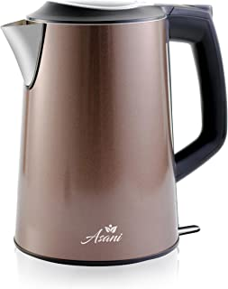 Double Wall Safe Touch Electric Kettle | Stainless Steel with 100% Plastic-Free Interior | Cordless Electronic Hot Water Heater Pot with Cool Touch, Boil Dry Protection & More (1.9 Quart/1.8L) (Grey)