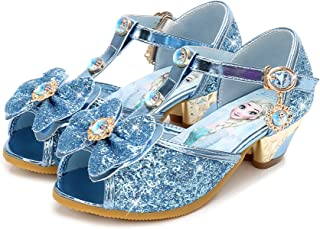 7e4ae79b4b746 Eleasica Fille Confortable Chaussures de Princesse avec Talon Elsa Haute  Qualité Paillettes Sandales Argenté Bleu Violet