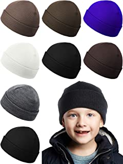 Syhood 8 Pieces Kids Winter Beanie Hat Assorted Colors Knitted Warm Cold Weather Winter Skull Cap Unisex Children Cuffed H...
