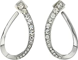 Graduated Stone Hoop Earrings