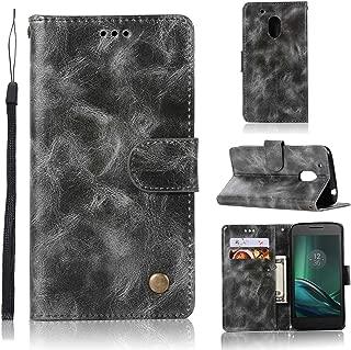 Guran® Housse en Cuir PU pour Lenovo Moto G4 Plus (5.5 Pouces) Smartphone Flip Cover Portefeuille et Fonction Stent Étui en Cuir Vintage gaufré - Gris