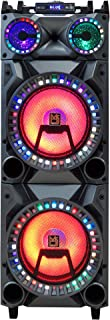 """Mr. Dj New York 3-Way Dual 12"""" Portable Active Speaker, Built-in Smart App Control User, Bluetooth, USB/SD Card FM Tuner, Rechargeable Battery and Accent LED Lighting Max Power 6000 Watts P.M.P.O"""