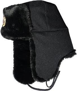 Ushanka winter hat Russian Navy Seaman Black, with Soviet Army officer insignia