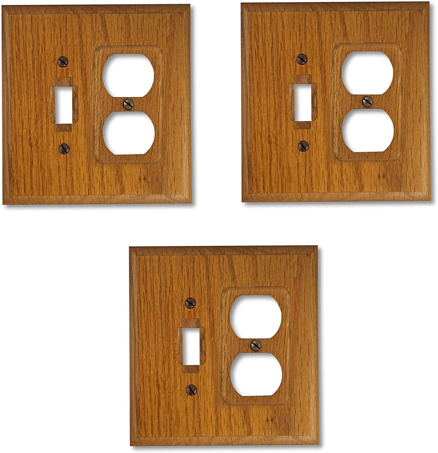 Square Wood Wall Plate Cover 1 Toggle Switch 1 Duplex Outlet Solid Oak 3 Pack Amazon Com
