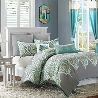 Madison Park Nisha Duvet Cover King/Cal King Size - Grey Teal , Paisley Duvet Cover Set – 5 Piece – 100% Cotton Light Weight Bed Comforter Covers