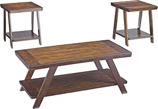 Signature Design by Ashley - Bradley 3 Piece Occastional Table Set, Burnished Brown