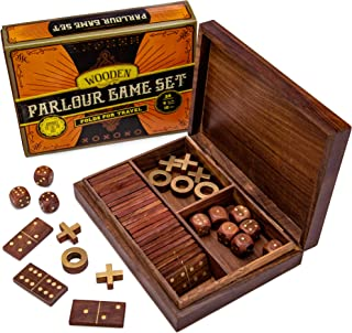 Vintage Wooden 3-in-1 Parlour Game Set   28 Dominoes, 9 Tic-Tac-Toe Tokens, & 10 Wooden Dice   Includes Engraved Travel Display Chest   Play 3 Classic Board Games