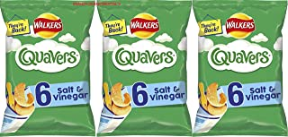 3x Walkers Quavers Salt & Vinegar Multipack Chips Crisps, (6 x16 g)