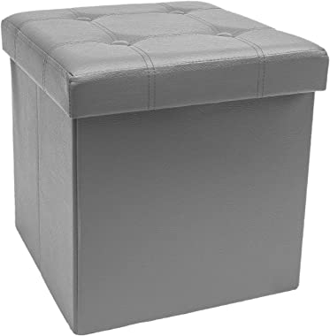 Sorbus Storage Ottoman Bench, Folding Cube Ottoman, Great for Hassock, Foot Stool, Seat, Coffee Table, Storage Chest, and More Contemporary, Faux Leather(Gray)