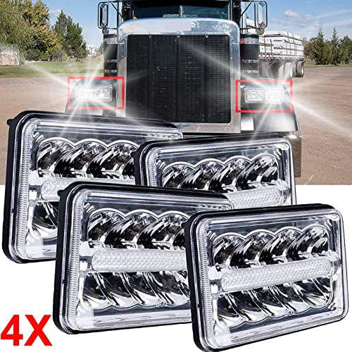 lowest 4x6'' LED Sealed Beam Headlights lowest For Peterbilt 357 378 379 387 DRL 2021 High-Low Beam DRL Headlamps Replacement for H4651 H4652 H4656 H4666 H6545 H4668 H4642, Pack of 4 sale