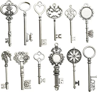 12pcs Antique Silver Huge Skeleton Key Craft Supplies Charms Pendants for Crafting, Jewelry Findings Making Accessory For DIY Necklace Bracelet m102 (Huge Key Charms)
