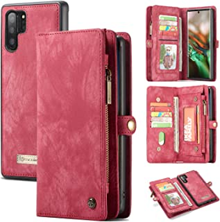 AKHVRS Galaxy Note 10+ Plus Wallet Case, Handmade Premium Cowhide Leather Wallet Case,Zipper Wallet Case [Magnetic Closure] Detachable Magnetic Case & Card Slots for Samsung Galaxy Note 10 Plus - Red