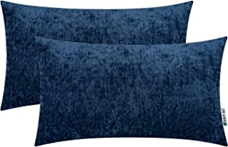 HWY 50 Cashmere Soft Decorative Rectangle Throw Pillows Covers Set Cushion Cases for Couch Sofa Living Room 12 x 20 Inch Blue Comfortable Pack of 2