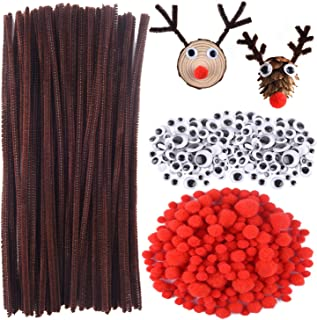 CHRORINE 830 Pcs Christmas Pipe Cleaners Craft Set, Christmas Craft Supplies, 150 Pcs Brown Pipe Cleaners Chenille, 360 Pc...