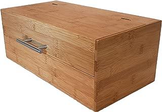 Green Hygge Natural Bamboo Wood Storage Box | Large Bread Box | Kitchen Countertop Organizer | Hinged Lid with Handle
