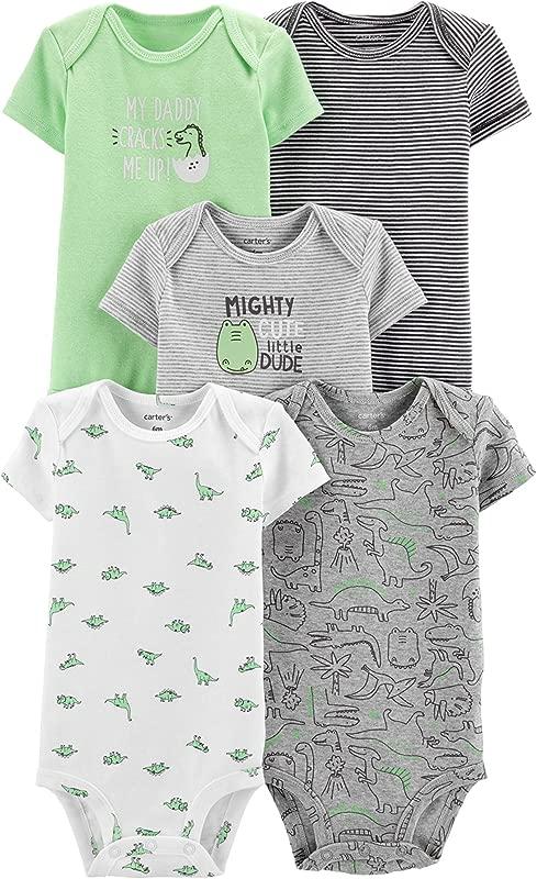 Carter S Baby Boys 5 Pack Bodysuit Set Dinosaurs 3 Months