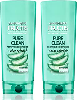 Garnier Hair Care Fructis Pure Clean Conditioner, Fortifying Conditioner, Made With Aloe and Vitamin E Extract, Vegan Formula, Paraben Free, 21 Fl Oz, 2 Count
