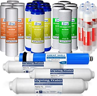 iSpring F28K75 3-Year Filter Replacement Supply Set For 6-Stage Reverse Osmosis RO Water Filtration Systems with Alkaline Mineral Filter