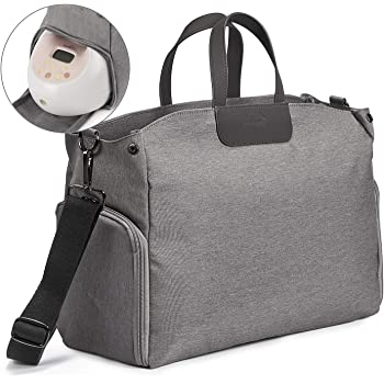 Momcozy Breast Pump Bag Compatible for Spectra S1,S2, Medela Lansinoh, Philips Avent, Large Capacity Breast Pump Storage Tote for Working Moms with Laptop Sleeve (Up to 13'') (Grey, Large) BabyFeeding