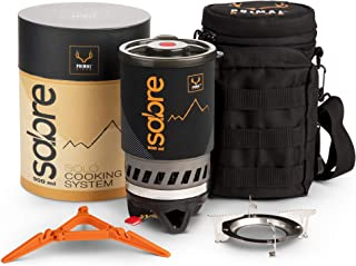 Portable Gas Camping Stove | 2 Minute Rocket Stoves | Coffee, Dehydrated Meals, MRE | Flash Cooking System Solo Camp Stove for Backpacking, Survival, Hiking