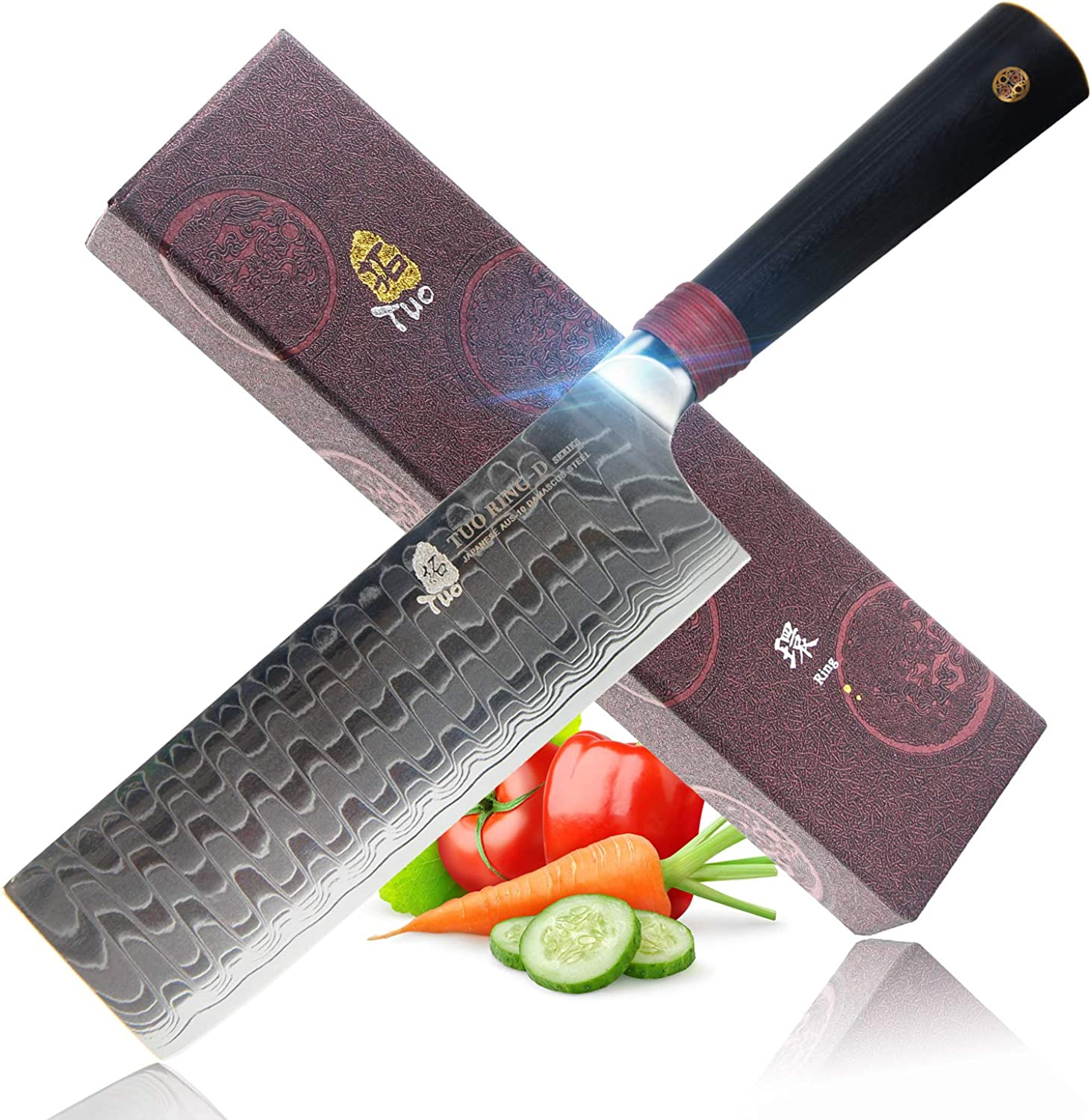 """TUO Cutlery Nakiri Knife 6.5"""" - Damascus Vegetable Cleaver Kitchen Knives - Japanese AUS-10 High Carbon Stainless Steel Cutting Core Blade - Damascus Pattern - G10 Handle - Gift Box - Ring-D Series"""