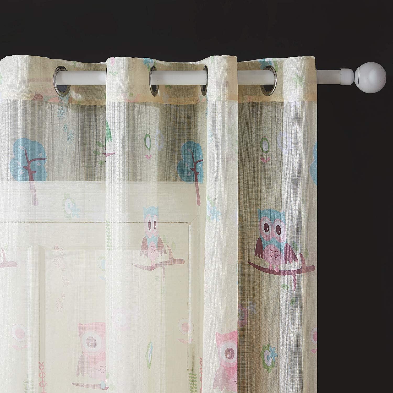 Topfinel Cortinas Estampado Transl/úcidas Visillos infantiles Paneles para Ventanas ni/ños habitaciones salon dormitorio moderno Gasa con B/úho Impresi/ón de Ojetes,140 Anchura x 175cm Longitud 2 Pieza