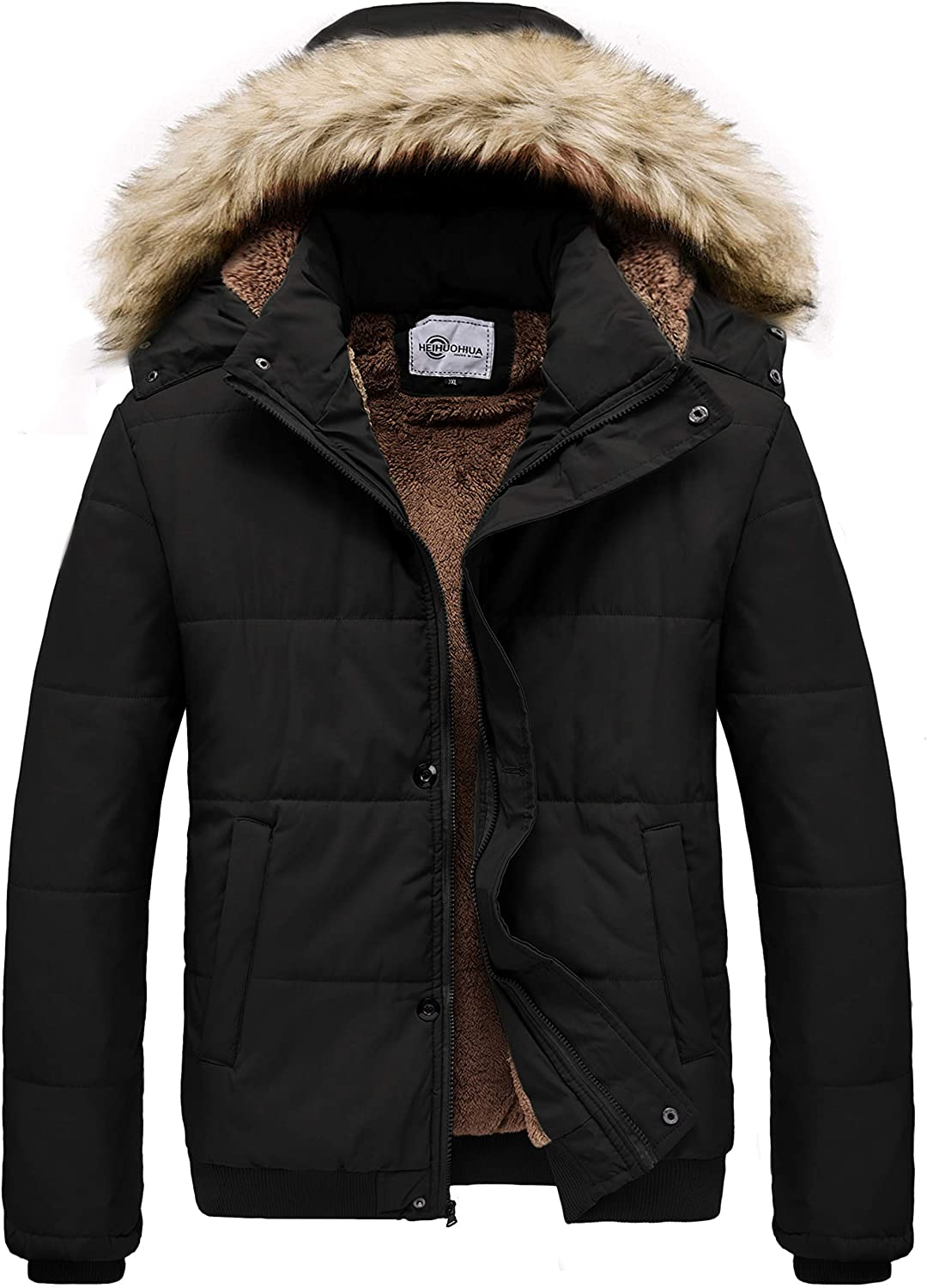 Men's Winter Thicken Coat Warm Puffer Jacket with Removable Hood