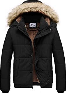 Heihuohua Men's Winter Quilted Puffer Jacket with Detachable Fur Hood