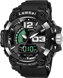Lamkei LAM-1273 Black Dial Black Silicone Strap Analogue Digital Multifunction Watch for Men