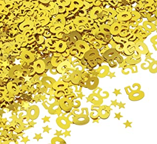 Penta Angel 2 Packs 50th Golden Birthday Wedding Anniversary Table Decoration Confetti 50 Number Party Confetti and 1 Pack Gold Star Sequin Metallic Foil Confetti for Party Supplies, 4000 Pieces