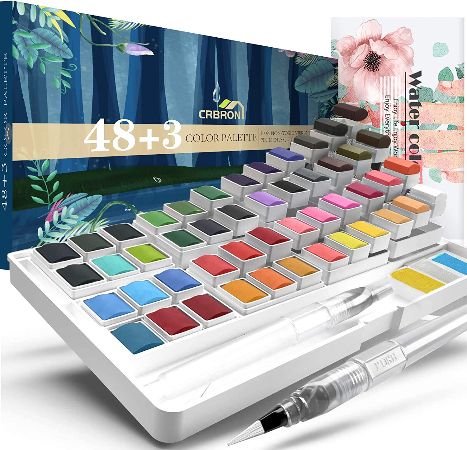 CRBRON Watercolor Palette with Bonus Paper Pad Includes 48 Premium Colors - 2 Refillable Water Blending Brush Pens - No Mess Storage Case - 15 Sheets of Water Color Paper - Portable Painting,multicolored